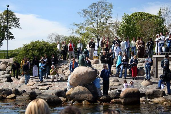 The crowd of tourists have all come to see the statue of the little mermaid.
