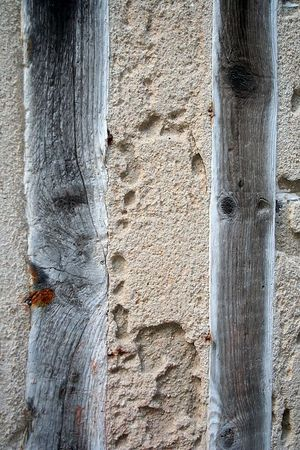 Close up of mortar and beam construction in Honfleur, France.