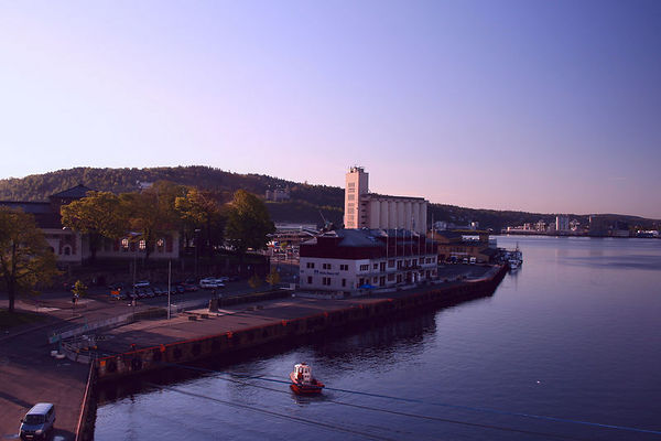 Entering Oslo harbor at sunrise