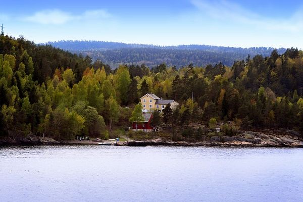 I loved this view of a house and trees in the afternoon sun along the fjord.