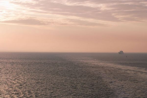 The sunrise over the ocean. The sun is getting up a little higher and the mist is thinning as we continue our entry into Southampton harbor.