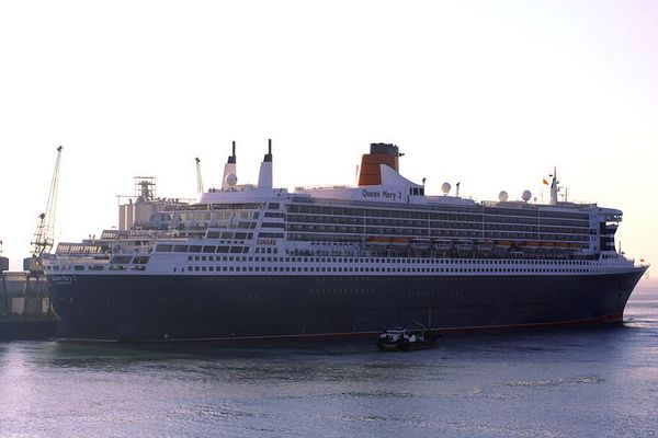 The Queen Mary 2 is berthed here in Southampton. We pass her on our way into port.