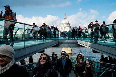 St. Paul's & Millenium Bridge Pedestrians- London, England