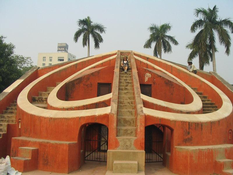 In Delhi with JJ at Jantar Mantar Astronomy Garden.