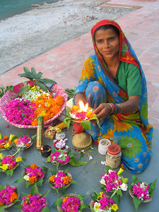 Selling flowers for a Ganga puja.