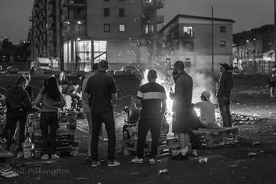 Sandy Row, Belfast, on the night before the 11th Night bonfire.