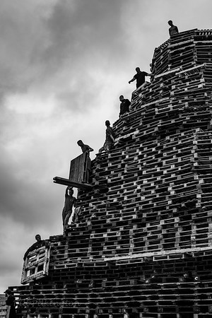 Building the bonfire, Sandy Row, Belfast