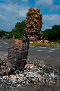 Protestant bonfire in the loyalist Milltown area of East Belfast.