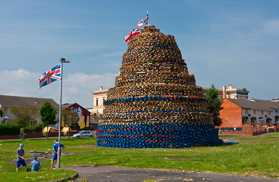 Protestant bonfire in Hopewell Square, part of the loyalist Shankill area of West Belfast.