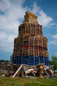 A massive protestant bonfire in the Castlereagh area of East Belfast.