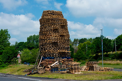 Protestant bonfire in the loyalist Milltown area of East Belfast, Northern Ireland