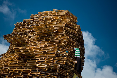 The top of a protestant bonfire in the loyalist Milltown area of East Belfast