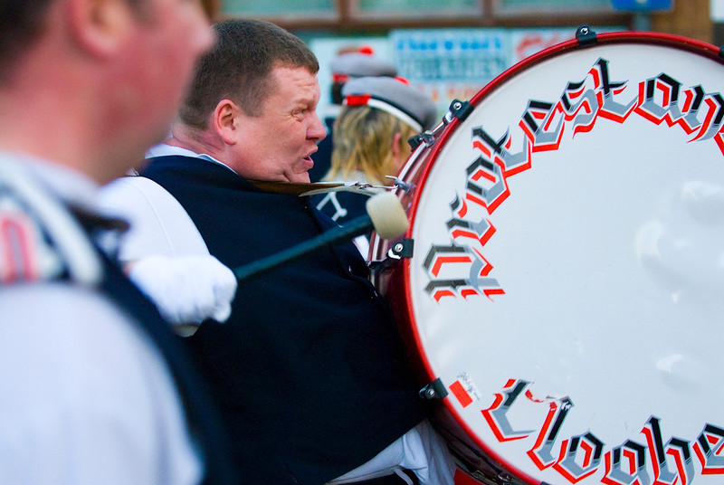 The drums play a key part in the annual protestant marching season in Northern Ireland. They are played at volume with passion