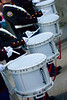 A line of drummers marching in a traditional orange march in Dromore, co Down, Northern Ireland