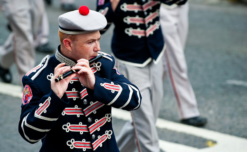 A flute player from the Clogher Protestant Boys Band during the annual 12th of July Orange Order march through Waringstown, County Down, Northern Ireland 2