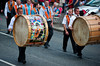 A lambeg drummer from Beers True Blues marching band, during the annual 12th of July Orange Order march through Waringstown, County Down, Northern Ireland
