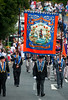 A traditional banner from the Downshire Clogher LOL 529, Rathfriland during the annual 12th of July Orange Order march through Waringstown, County Down, Northern Ireland