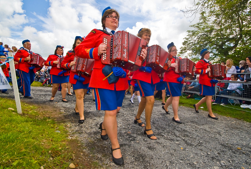 "An accordion band at the annual ""Sham Fight"" Pageant celebrated at Scarva Co. Down on 13 July every year"