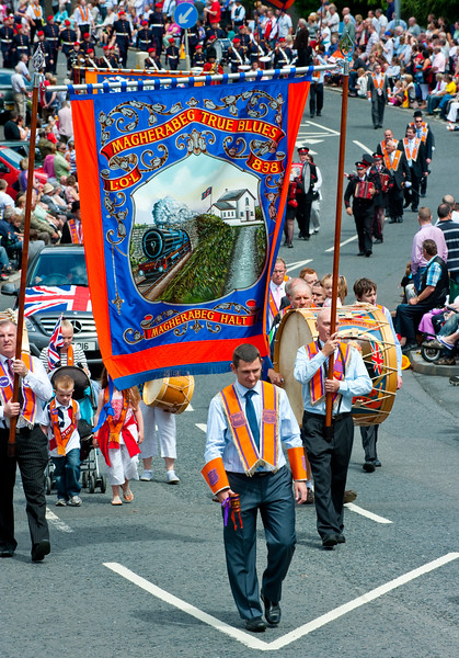 A traditional banner from the Magherabeg True Blues, LOL 838,  during the annual 12th of July Orange Order march through Waringstown, County Down, Northern Ireland