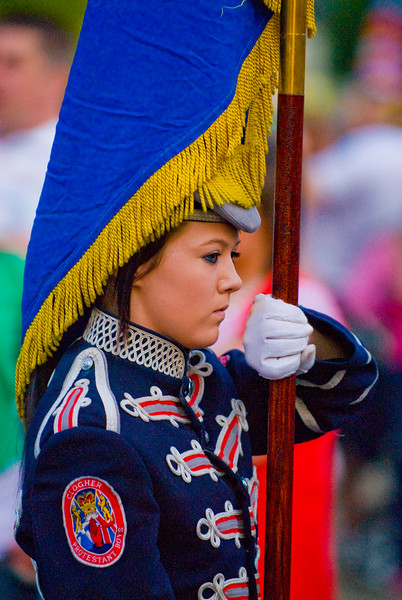 Flag bearer in the Clogher Protestant Boys Band taking part in a traditional march in Donaghcloney, Northern Ireland