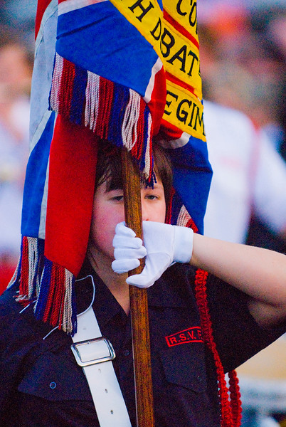 A flag bearer at the annual band parade Market Hill County Armagh Northern Ireland