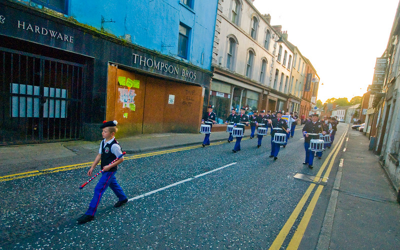 A child leads his band during the traditional orange march in Dromore, Co. Down Northern Ireland