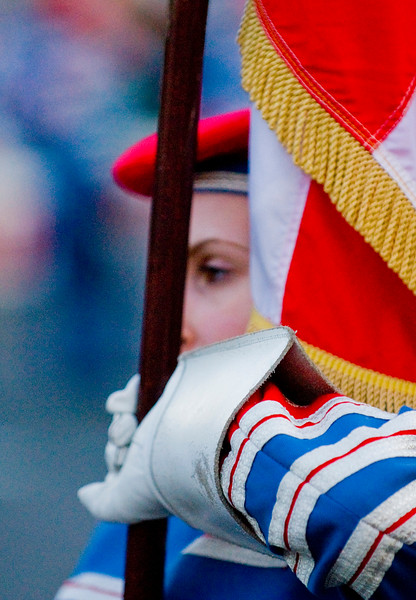 Flag bearer in the Pride of the Hill Band taking part in a traditional march in Donaghcloney, Northern Ireland