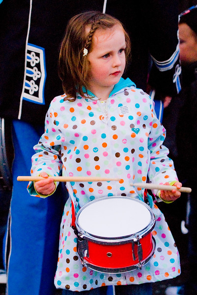 A young girl joins in the fun at the annual band parade in Market Hill, County Armagh, Northern Ireland