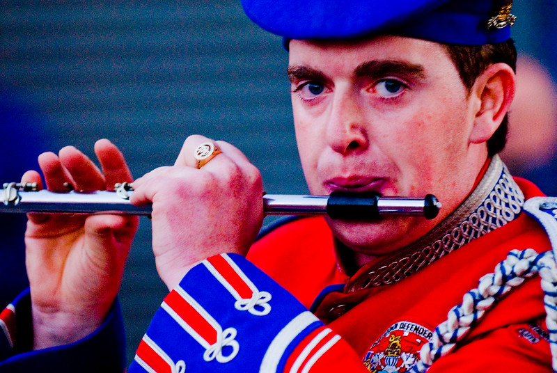 A flute player from the Red Hand Defenders Band marching in a traditional orange march in Dromore, Co. Down Northern Ireland