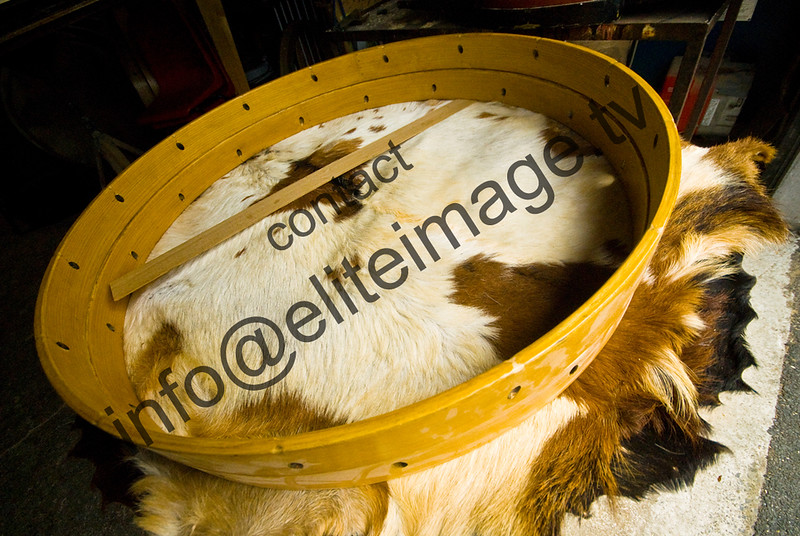 Goat skins are traditionally used on Lambeg drums in Northern Ireland. The cured skins are very thin and strong and of even thickness and consistency all over as far as possible, for the best possible sound.