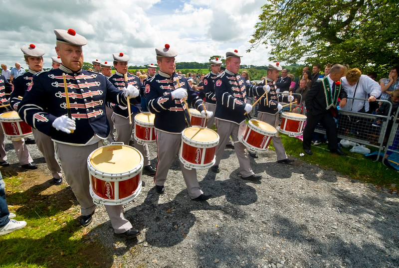 "Clogher Protestant Boys band marching at the annual ""Sham Fight"" Pageant celebrated at Scarva Co. Down on 13 July every year"