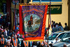 A traditional banner from the Derry Star LOL 20, Maralin during the annual 12th of July Orange Order march through Waringstown, County Down, Northern Ireland