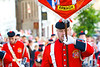 A flag bearer with the banner of Armagh at the annual band parade Market Hill, County Armagh, Northern Ireland