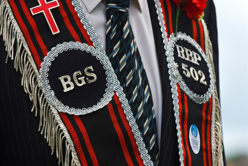 """The badges, sahses and traditional uniform of the Royal Black Percepory (Orange Order) at the annual """"Sham Fight"""" Pageant celebrated at Scarva Co. Down on 13 July every year (2)"""
