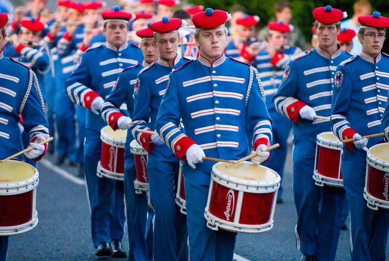 Drummer in the Pride of the Hill Band taking part in a traditional march in Donaghcloney, Northern Ireland 2