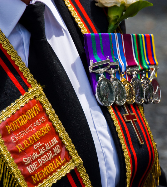 "The badges and traditional uniform of the Royal Black Percepory (Orange Order) at the annual ""Sham Fight"" Pageant celebrated at Scarva Co. Down on 13 July every year"