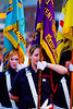 Flag bearers at the annual band parade Market Hill County Armagh Northern Ireland
