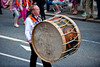 A lambeg drummer during the annual 12th of July Orange Order march through Waringstown, County Down, Northern Ireland