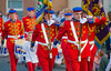 Flag bearers marching in a traditional orange march in Donaghcloney, Northern Ireland