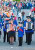 A drum and accordion band featuring a variety of ages preform a routine at the annual band parade Market Hill, County Armagh, Northern Ireland.