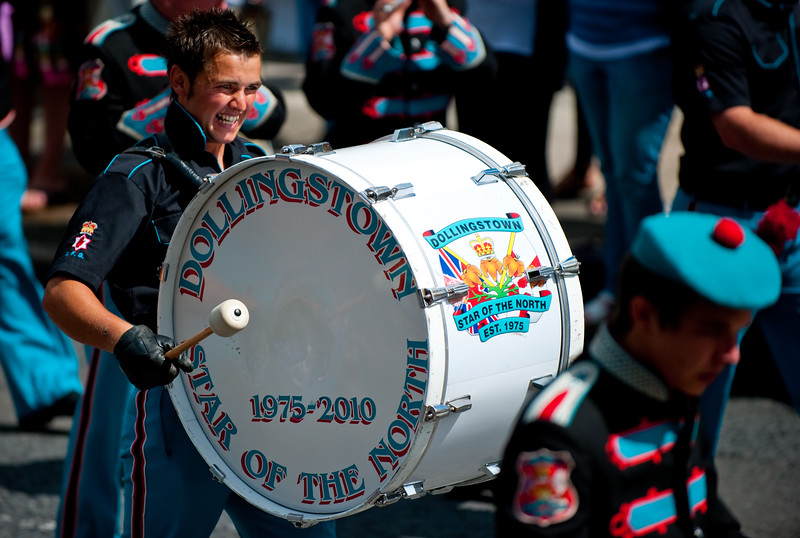 A drummer for the dollingstown star of the north Band, during the annual 12th of July Orange Order march through Waringstown, County Down, Northern Ireland