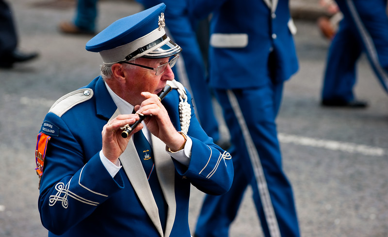 A flute player from the Clogher Kilmore Flute Band during the annual 12th of July Orange Order march through Waringstown, County Down, Northern Ireland