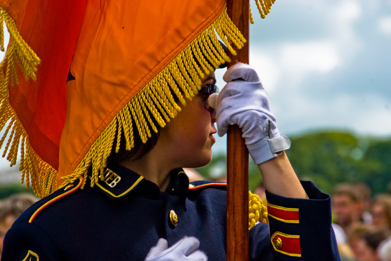 """A flag bearer at the annual """"Sham Fight"""" Pageant celebrated at Scarva Co. Down on 13 July every year"""