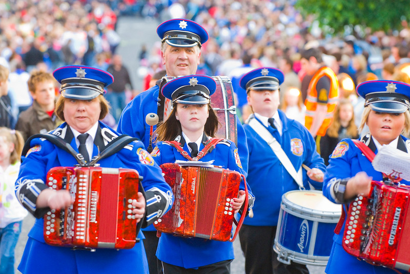 A drum and accordion band stops to preform a routine at the annual band parade Market Hill County Armagh Northern Ireland