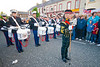 A drum band stops to preform a routine at the annual band parade, Market Hill, County Armagh, Northern Ireland
