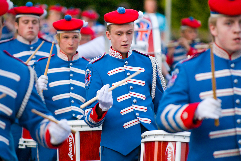 Drummer in the Pride of the Hill Band taking part in a traditional march in Donaghcloney, Northern Ireland