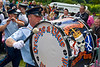 "Blackskull Orange and Blue band marching at the annual ""Sham Fight"" Pageant celebrated at Scarva Co. Down on 13 July every year"