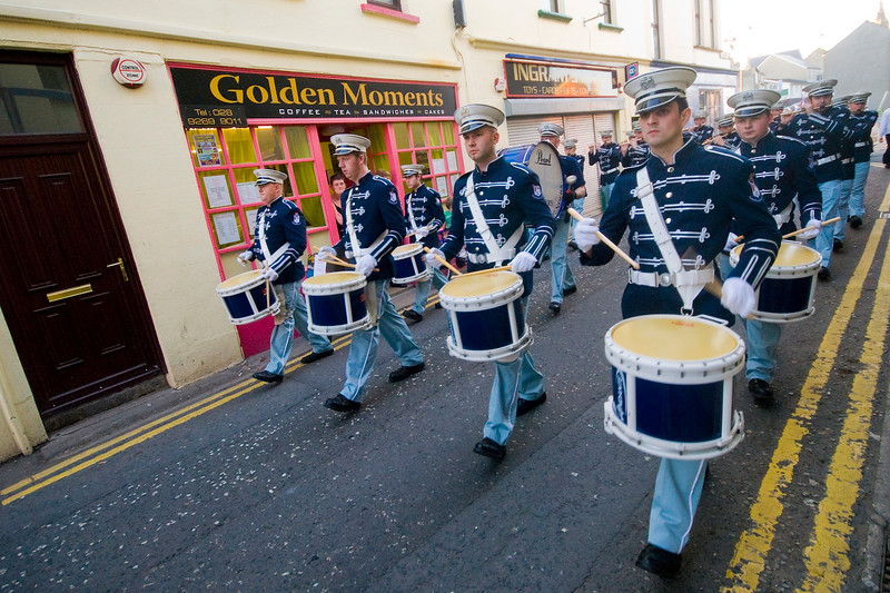 Drummers lead the way, marching in a traditional orange march in Dromore, Co Down, Northern Ireland