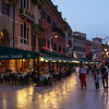 Verona - some of the many restaurants on one side of Piazza Bra, close to the Hotel.