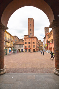 Medieval towers and Piazza del Risorgimento in Alba
